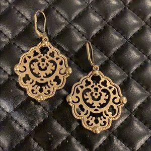 Anthropologie Gold Scroll Medallion Earrings
